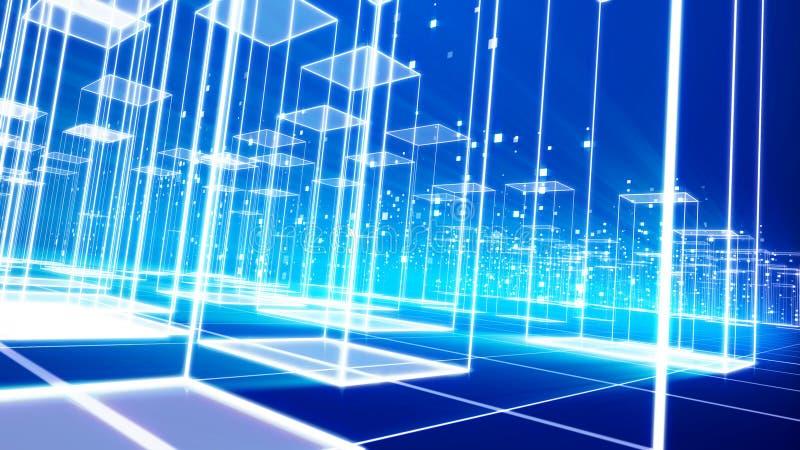 Cyberspace com Celeste Buildings cúbico ilustração royalty free