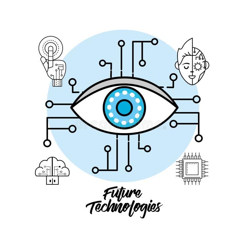 Cyberspace de Digitas com sistema visual da conexão ilustração stock