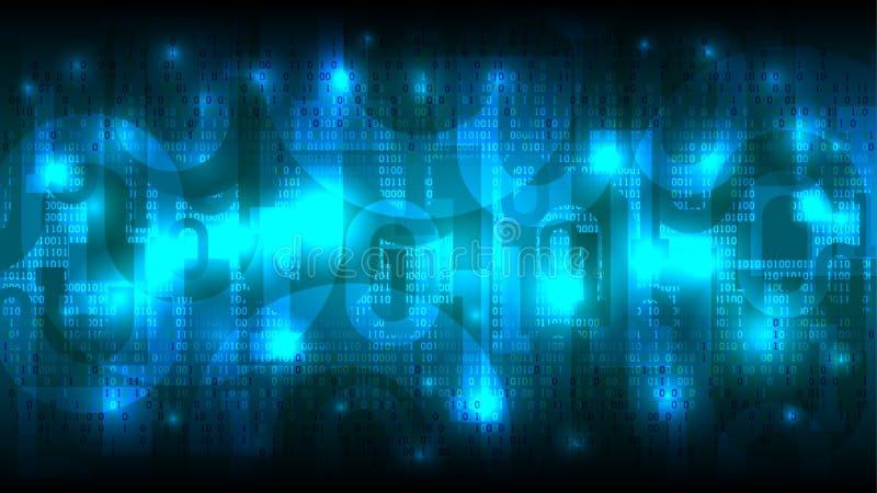 Cyberspace de incandescência futurista abstrato com fundo azul com dígitos, nuvem da matriz do código binário de dados grandes ilustração do vetor