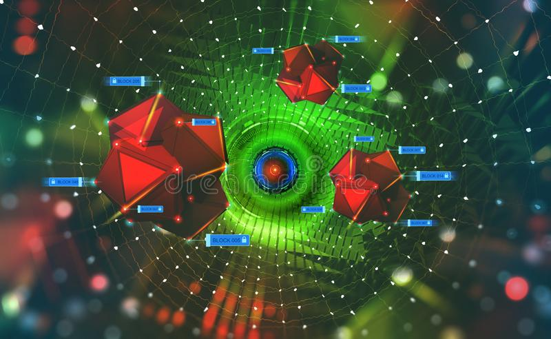 Cyberspace. Digital technologies of the future. Chains of information blocks. Portal with HUD elements. 3D illustration on tech background stock illustration