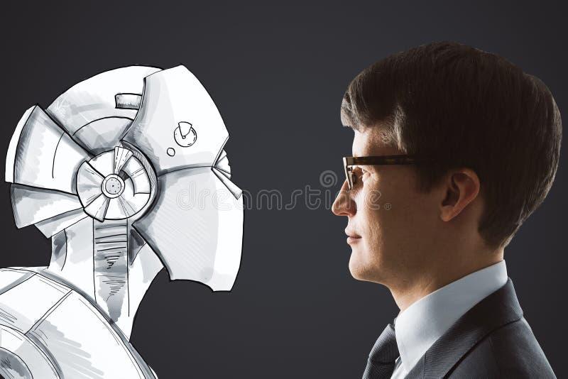 Cyberspace e conceito da robótica ilustração royalty free
