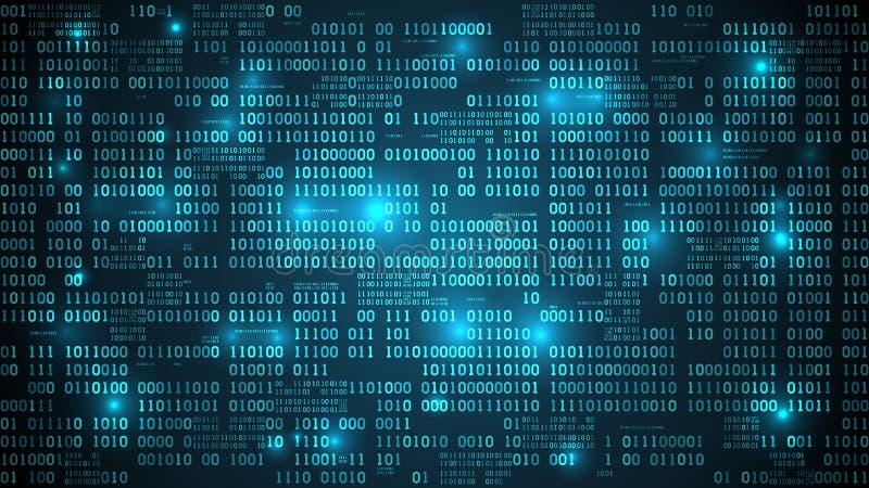 Cyberspace futurista abstrato com código binário ilustração royalty free