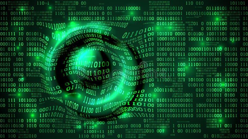 Cyberspace futurista abstrato com código binário e as ondas circulares, fundo com dígitos, inteligência artificial da matriz ilustração royalty free