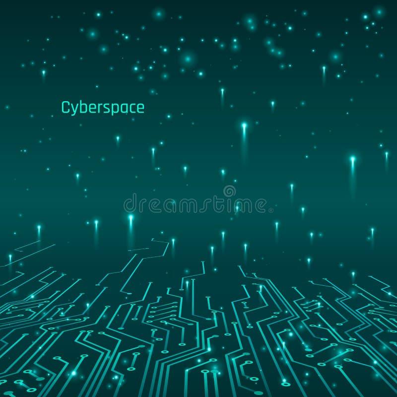 cyberspace Futuristiskt begrepp Strömkretsspår och dataöverföring också vektor för coreldrawillustration royaltyfri illustrationer