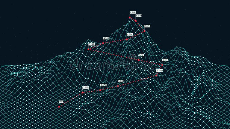 Cyberspace grid 3d technology wireframe landscape, Climbing route to the top mountain, Business is the way to success. Creative concept for presentation vector illustration