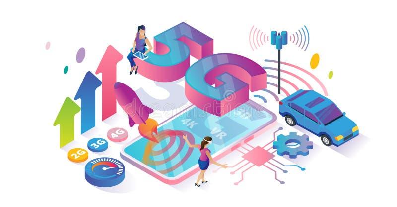 Cyberspace isometrico di velocità 5G ed illustrazione minuscola di vettore di concetto delle persone illustrazione di stock