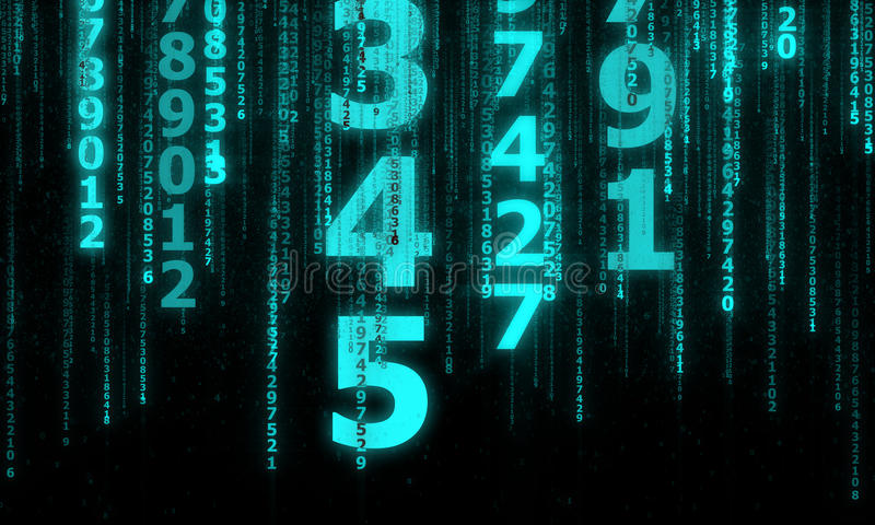 The cyberspace with many sparkling falling lines numbers royalty free illustration