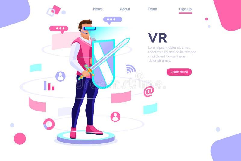 Cyberspace virtual do jogo da opinião da experiência ilustração royalty free