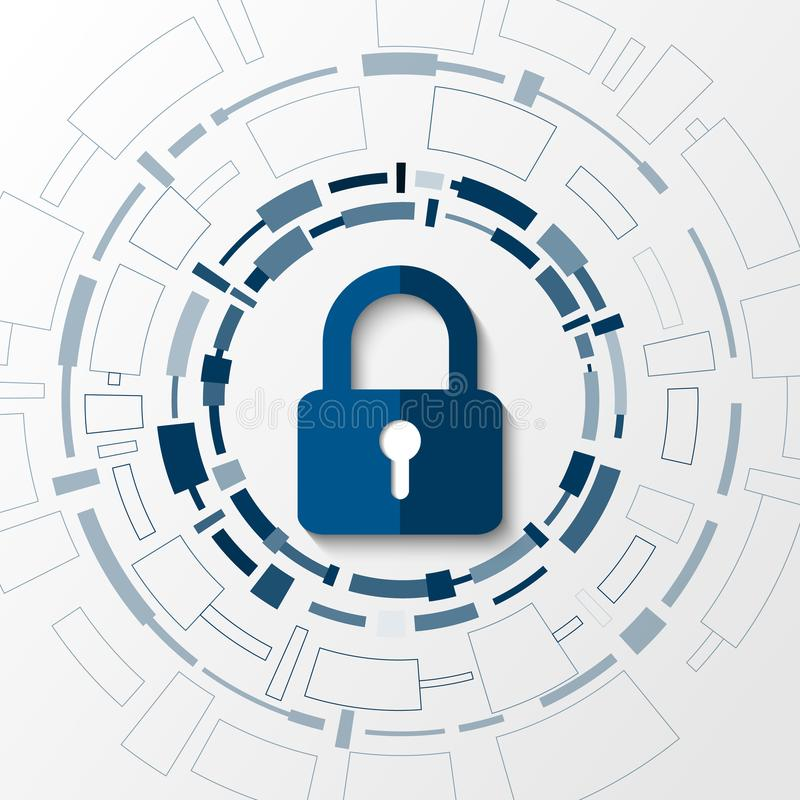 Cybertechnologiesicherheit, Netzschutz-Hintergrunddesign, stock abbildung