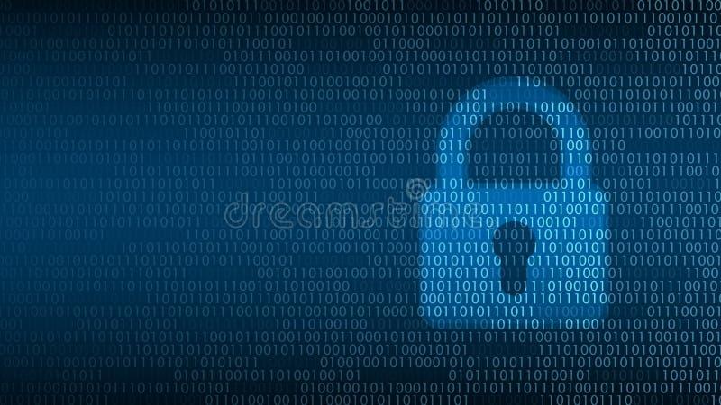 Cybertechnologiesicherheit, Verschluss auf digitalem Schirm stock abbildung