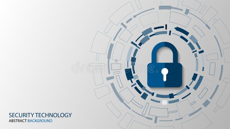 Cyberteknologisäkerhet, design för nätverksskyddsbakgrund stock illustrationer