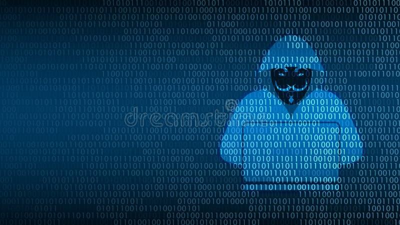 Cyberteknologisäkerhet, en hacker på den digitala skärmen vektor illustrationer