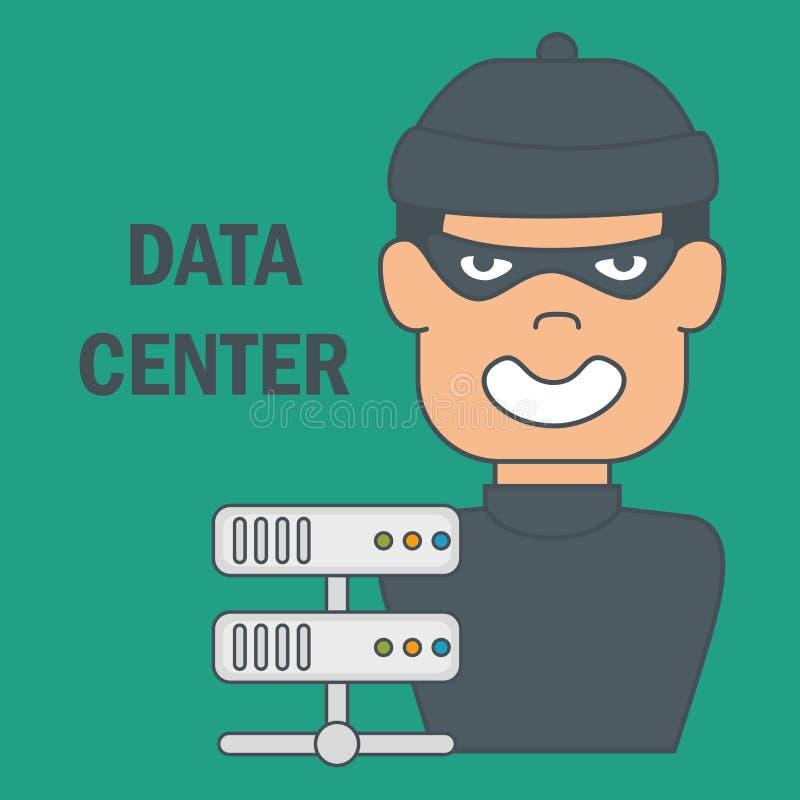 Cybertjuv med datorhallsymboler stock illustrationer