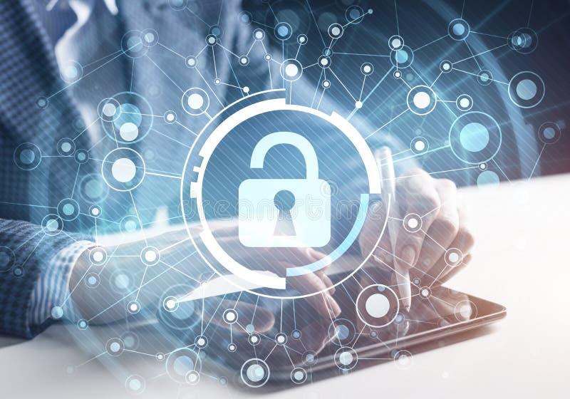 Cyberveiligheid en de beschermingsconcept van de gegevensprivacy stock afbeeldingen