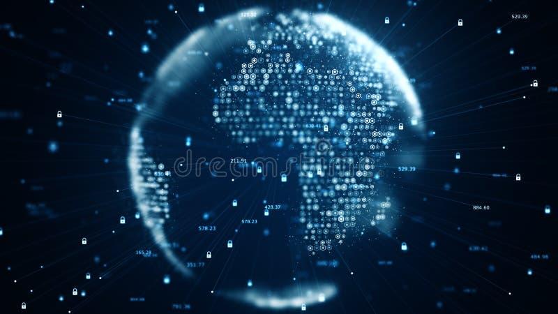 Cyberveiligheid en globaal communicatie concept Analyse van informatie De binaire codenetwerk van technologiegegevens het vervoer vector illustratie