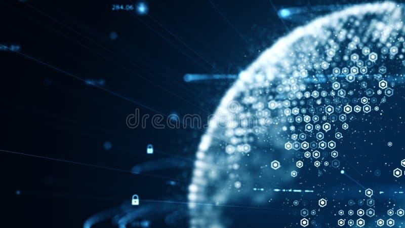 Cyberveiligheid en globaal communicatie concept Analyse van informatie De binaire codenetwerk van technologiegegevens het vervoer royalty-vrije illustratie