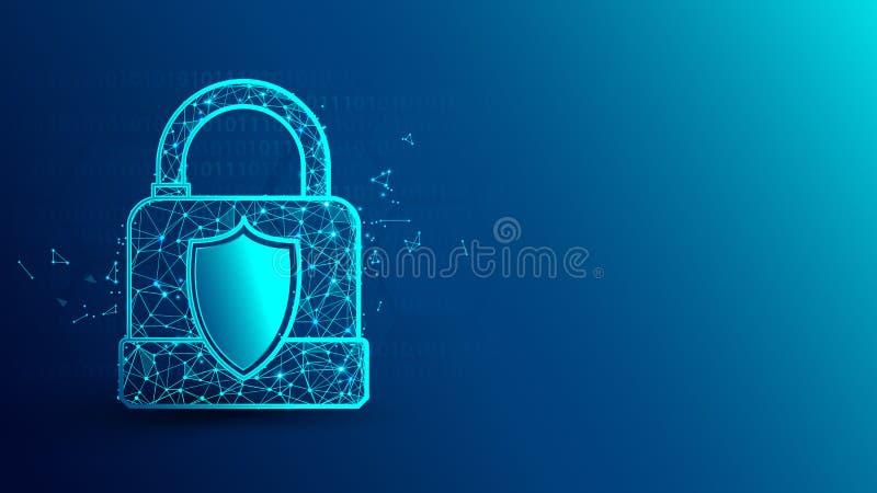 Cyberveiligheid en hangslotpictogram van lijnen, driehoeken en het ontwerp van de deeltjesstijl vector illustratie