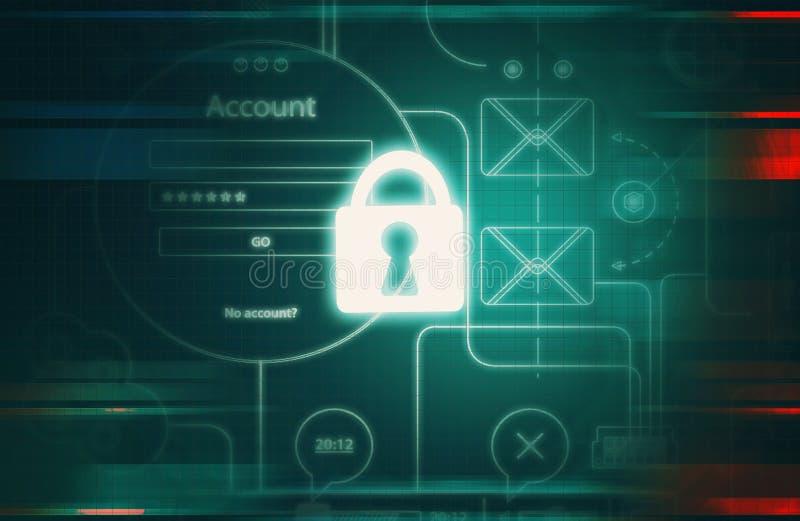 Cyberveiligheid en informatie of netwerk royalty-vrije illustratie