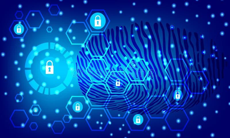 Cyberveiligheid en informatie of netwerkbescherming De toekomstige diensten van het technologieweb voor zaken en Internet-project stock illustratie