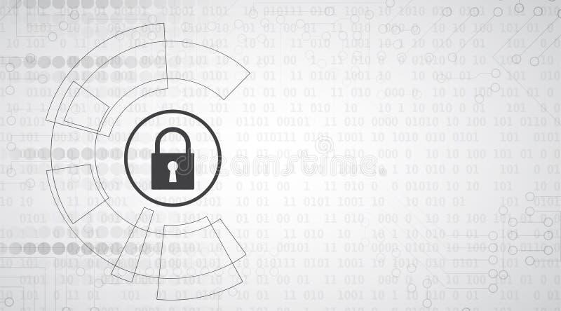 Cyberveiligheid en informatie of netwerkbescherming Toekomst tec stock illustratie