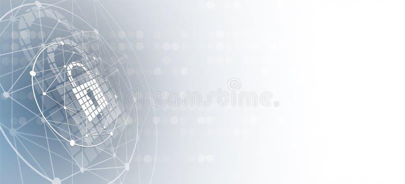 Cyberveiligheid en informatie of netwerkbescherming Toekomst tec royalty-vrije illustratie