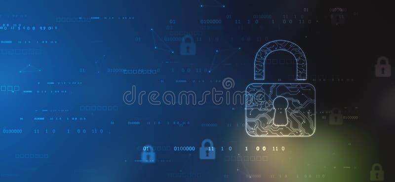 Cyberveiligheid en informatie of netwerkbescherming Toekomstige cybertechnologie stock illustratie