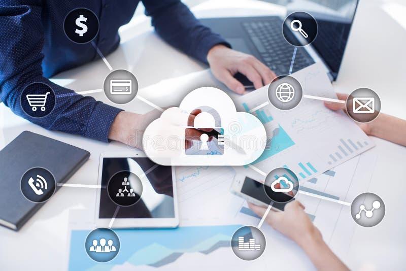 Cyberveiligheid, Gegevensbescherming, informatieveiligheid en encryptie royalty-vrije stock afbeeldingen