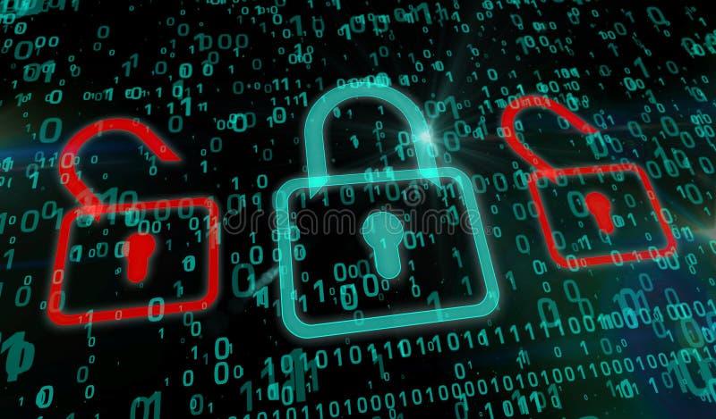 Cyberveiligheid - groen hangslot royalty-vrije illustratie