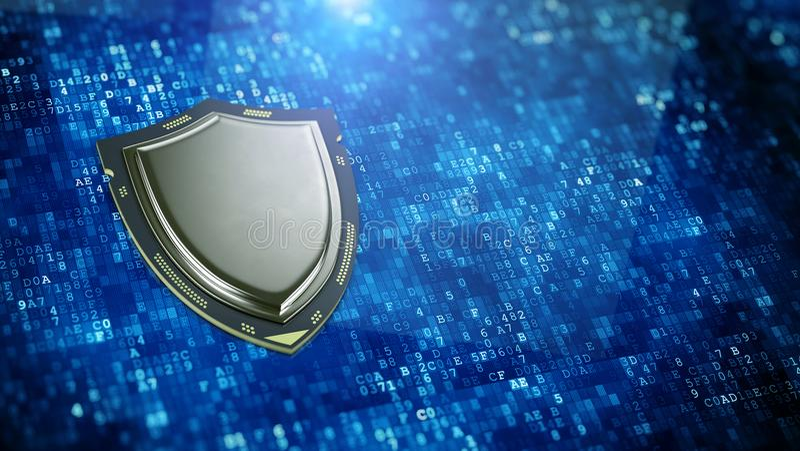 Cyberveiligheid, het concept van de informatieprivacy - Schild gevormde bewerker op digitale gegevensachtergrond stock illustratie