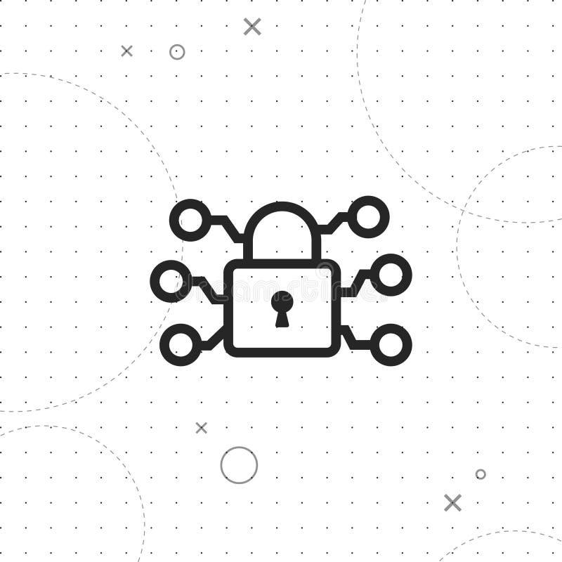 Cyberveiligheid, het vectorpictogram van de netwerkbescherming royalty-vrije illustratie