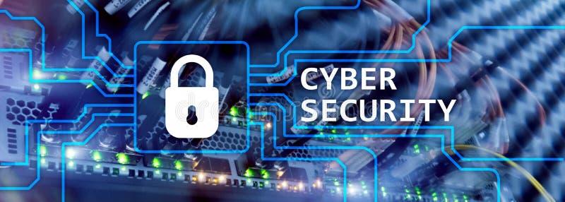 Cyberveiligheid, informatieprivacy en gegevensbeschermingconcept op de achtergrond van de serverruimte stock illustratie