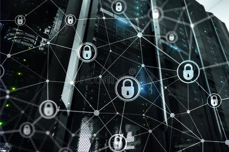Cyberveiligheid, informatieprivacy, gegevensbeschermingconcept op de moderne achtergrond van de serverruimte Internet en digitaal royalty-vrije illustratie