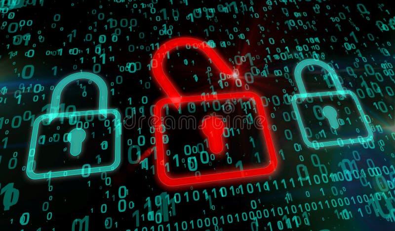 Cyberveiligheid - rood hangslot vector illustratie