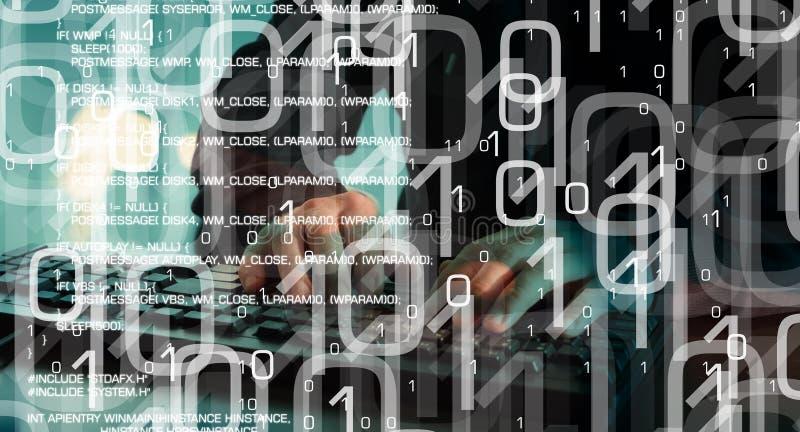 Cyberweltsicherheit, zerhackter Computer im Cyberangriff lizenzfreie stockfotografie