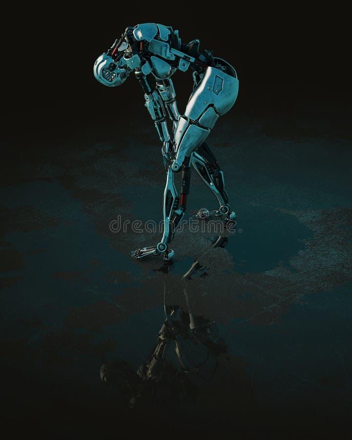 Cyberwijfje op een donkere en natte achtergrond stock illustratie