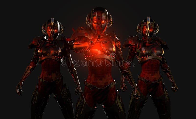 cyborgów postępowi żołnierze ilustracja wektor