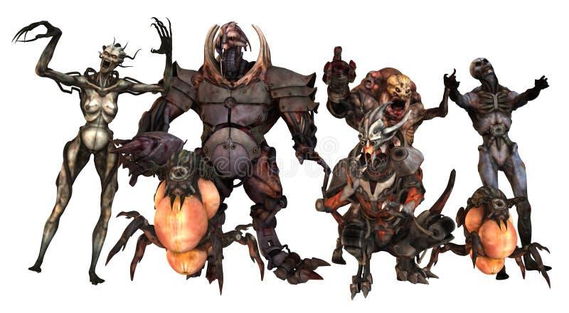 Cyborgów potworów 3d ilustracja ilustracji