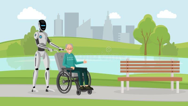 Cyborg με την παλαιά υπαίθρια διανυσματική απεικόνιση ατόμων Μηχανικό caregiver και με ειδικές ανάγκες πρεσβύτερος στην αναπηρική διανυσματική απεικόνιση