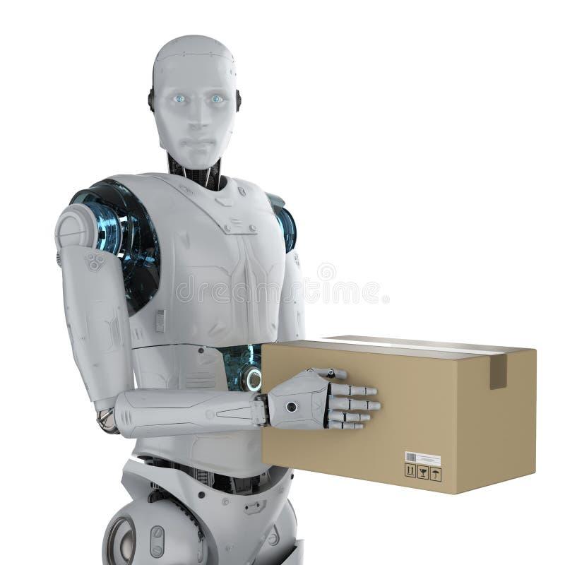 Cyborg με το κουτί από χαρτόνι στοκ εικόνες