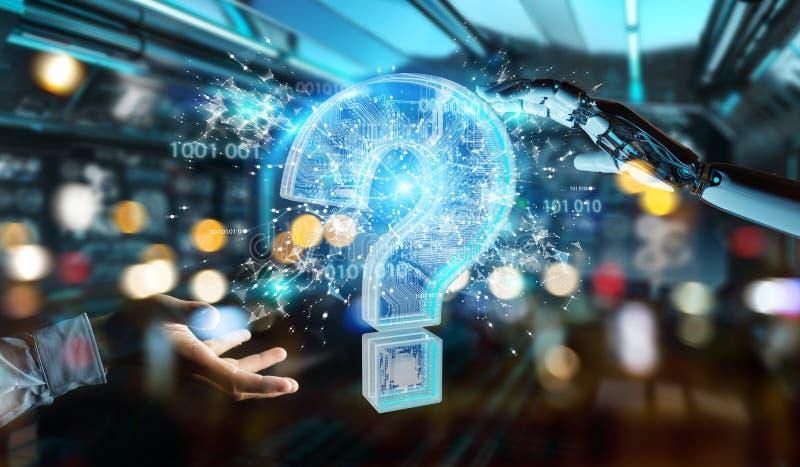Cyborg που λύνει το πρόβλημα με την ψηφιακή τρισδιάστατη απόδοση ερωτηματικών στοκ εικόνα με δικαίωμα ελεύθερης χρήσης