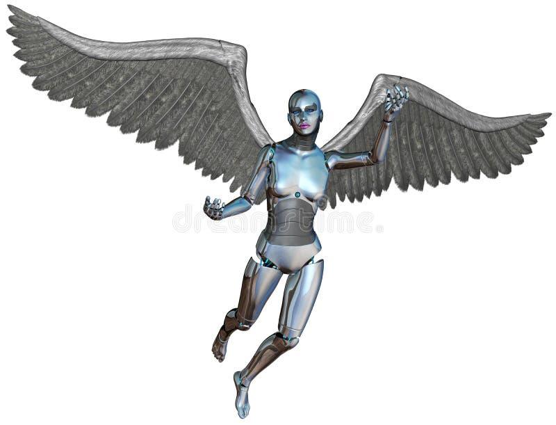 Cyborg Angel Isolated de Android do robô ilustração royalty free