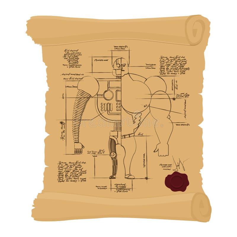 Cyborg antique de dessin sur le rouleau jaune Homme de construction de Cyber illustration libre de droits