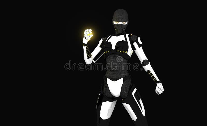 Cyborg assassin character stock image