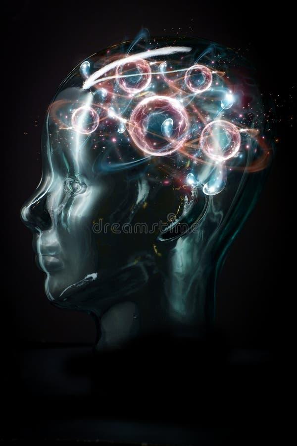 Cyborg-Atompartikel-Gehirn stock abbildung