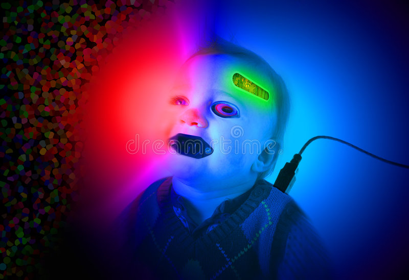 Cyborg baby. Baby cyborg. digital world computer controlled life. baby or toddler with electronic equipment attached stock image