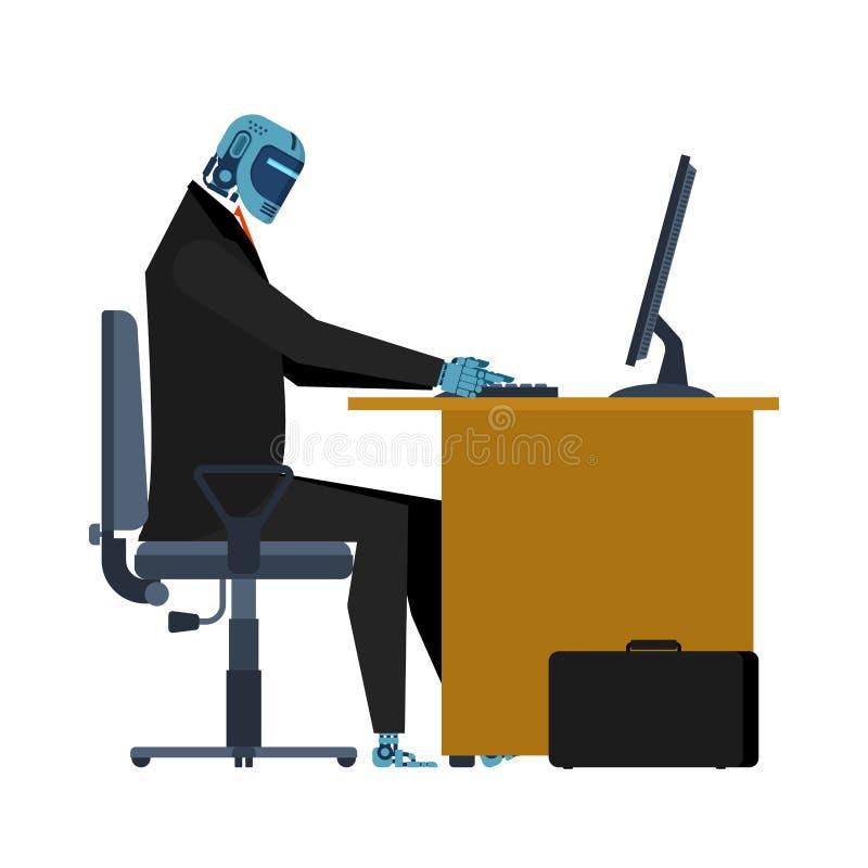Cyborg bei der Arbeit in der Tabelle Büroroboter Künstliche Intelligenz vektor abbildung
