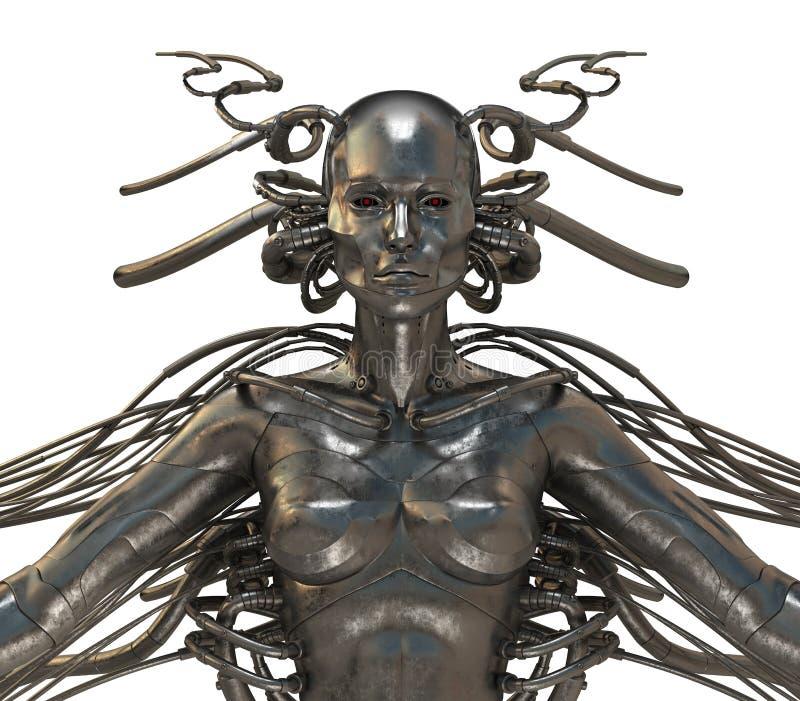 cyborg biała kobieta futurystyczna odosobniona royalty ilustracja