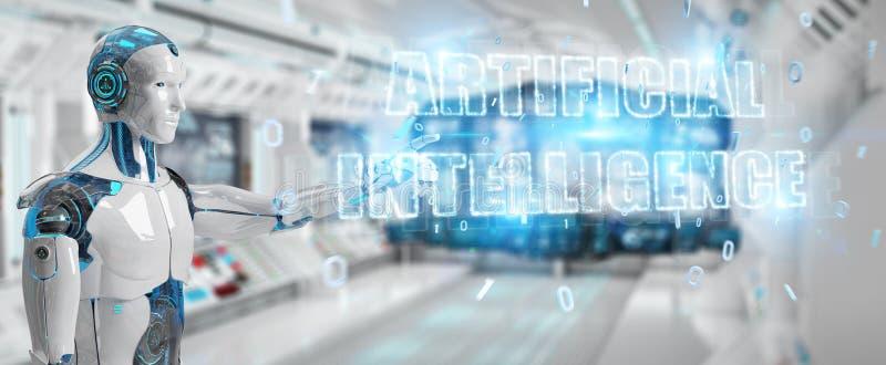 Cyborg bianco che usando l'ologramma digitale del testo di intelligenza artificiale