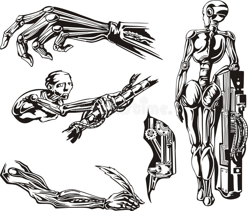 Cyborg biomechanika Ustawiać ilustracja wektor