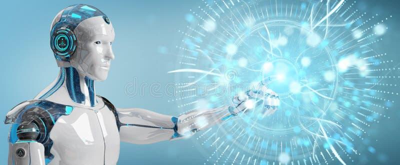 Cyborg blanc employant le rendu numérique de l'hologramme 3D de surveillance d'oeil illustration de vecteur